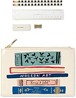Kate Spade New York Pencil Pouch Including 2 Pencils, Sharpener, Eraser, and Ruler School Supplies