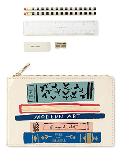 Kate Spade New York Pencil Pouch Including 2 Pencils, Sharpener, Eraser, and Ruler School Supplies (Stack of Classics)
