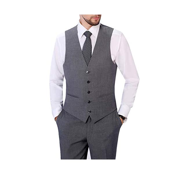 Pio Lorenzo Men's 3-Piece Suit Jacket & Hidden Expandable Waist Pants Big and Tall Tuxedo Grey