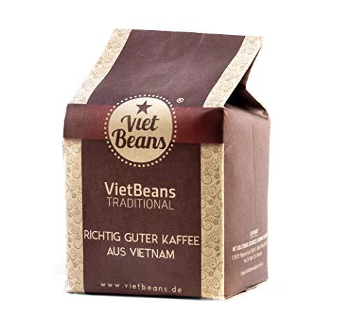 VietBeans Traditional – Ganze Kaffeebohnen – Traditionelle Trommelröstung - Hochwertiger vietnamesischer Kaffee – Geeignet für Vollautomaten - 250g