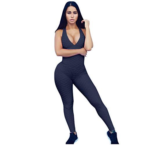Damen Sport Jumpsuit Kolylong® Frauen Rückenfrei Yoga Bodysuit Overall Gefaltet Leggings Sporthosen Bandage Playsuits Jogging Strampler Hosenanzug Trainingsanzug Fitness Workout Jogginghose