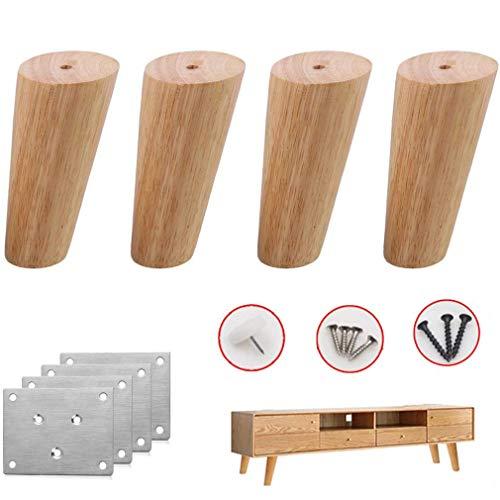 CHUTD Tafelpoot, sofapoten van massief eiken meubelpoten, Sich toelopende tafelpoten reservebedpoten Loveseat-Sofapoten TV-kast commode stoelpoten 30 cm / 11,8