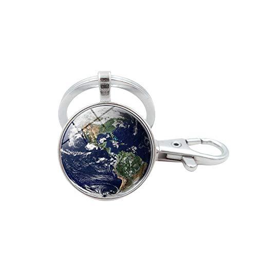 Schönes Planeten Glas Anhänger Solar System Erde Schlüsselanhänger Blaue Farbe Globus Schlüsselanhänger (Silber)