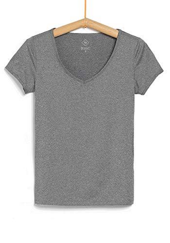 TEX - Camiseta de Deporte Manga Corta para Mujer, Gris Plateado, XL