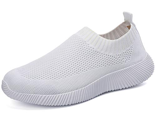 Sneakers Femme Plat Respirant Engrener Slip-on Élastique Basketss Chaussettes Antidérapant Extérieur Athlétique Marchant Léger DéContracté Chaussure Course Blanc 39 EU
