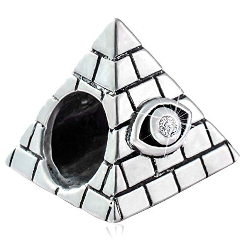 Evil Eye on Egyptian Pyramid Charms, Antique 925 Sterling Eye of Horus Symbol of Amulet Beads, fits Pandora World Travel Tourist Bracelet, Idea Gifts for Mothers Day/Christmas