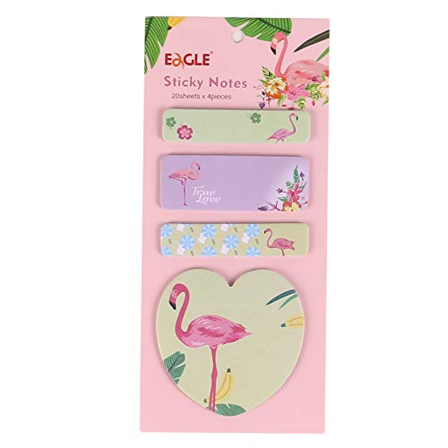Eagle Self-Sticky Notes, Creative & Cute Page Markers Tabs, Removal Printed Stickies with Flamingo Design, Matching with Planners, Great for Decorating, Reminders, Indexing, and Coding, Set of 1