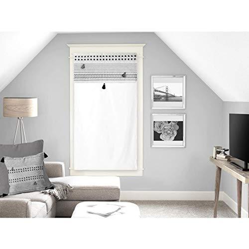 Soleil d'ocre Rideaux Brise-bise, Coton, Blanc, 60 x 120 cm