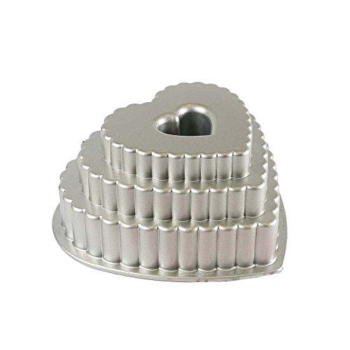 Nordic Ware Molde para tartas corazón Tiered Heart fundido anti adhesiva