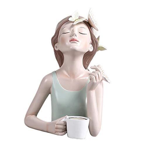 Generic Estatuilla de Resina de Estilo nórdico estatuas de niñas artesanías de Mesa Modernas Adornos Decorativos para Sala de Estar, hogar, Oficina, Centro de - Coffee20x13.7x27.5cm