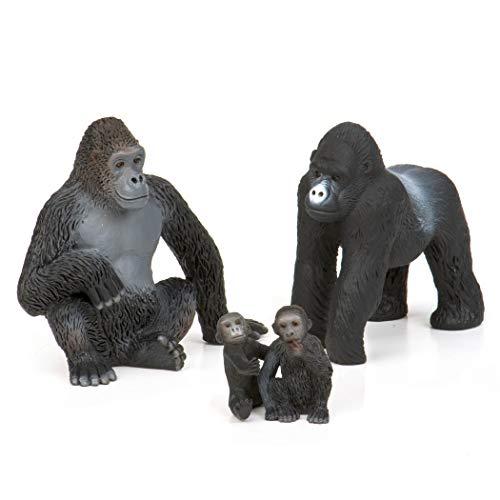 Terra Gorilla Familie Tiere Figuren – 2 große Gorillas und 2 Babys – Tierfiguren Spielzeug für Kinder ab 3 Jahren (4 Teile)