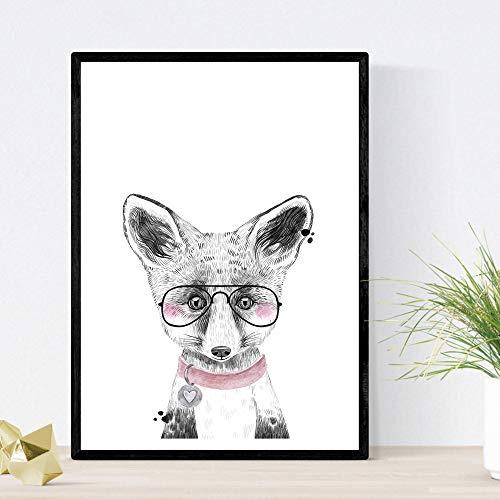 Kinderfilm baby beer met bril en ketting baby dieren poster A3 formaat Unframed