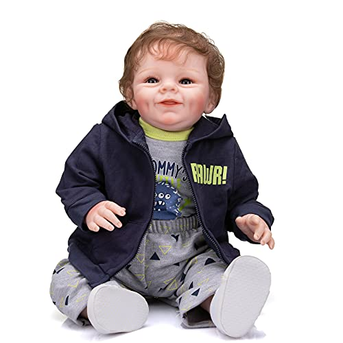 Reborn Baby Dolls Realistic 22 inch Silicone Toddler Doll with Cute Open Eyes Look Real Life for Girls Boys Birthday Gift (Boy)