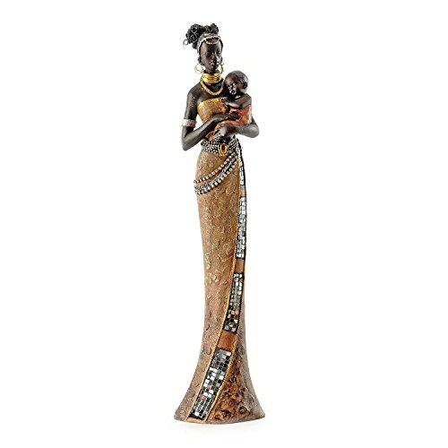 Pajoma 57538 Africana decoración señora con su bebé, Resina, Altura 42 cm