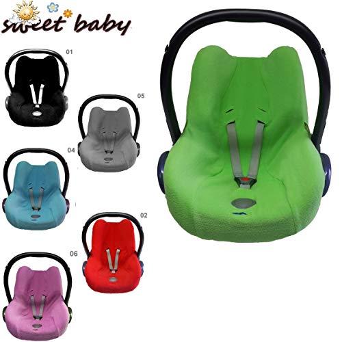 Sweet Baby - Kuschelig weicher FROTTEE SchonBezug/SommerBezug - Frühling/Herbst/Winter - UniversalBezug für Babyschale Maxi-Cosi CabrioFix und andere (Grau)
