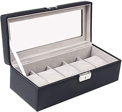 ZRDSZWZ Fiable 5 ranuras de piel sintética para reloj, caja de reloj de pulsera, organizador de cristal, almacenamiento de joyas con cojines de almohada suaves (color negro)