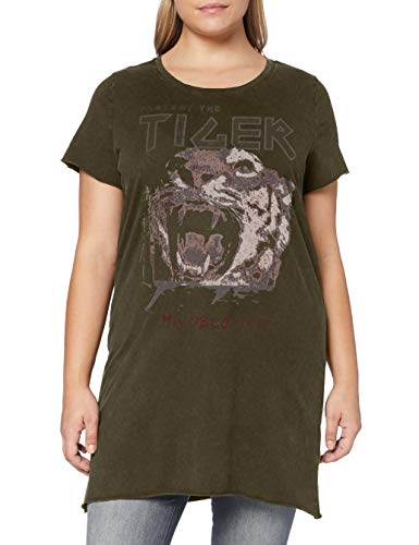 Only Carmakoma Damen CARERVINS Life SS Long Tee T-Shirt, Forest Night, L-50/52
