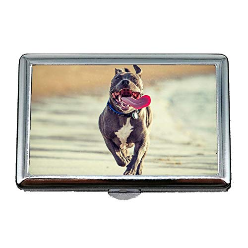 Stahl-Zigaretten-Kasten-Metallkasten, lustiger niedlicher Mops-Hund Pitbull Hund, Kreditkarteninhaber-Geldbörse