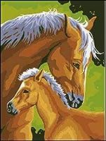 """番号でペイント 親愛なる馬の母と息子 3つの絵筆で絵筆を描く子供初心者大人のためのDIY油絵キット–家の壁の装飾のための16""""W x 20"""" Lフレームレス"""