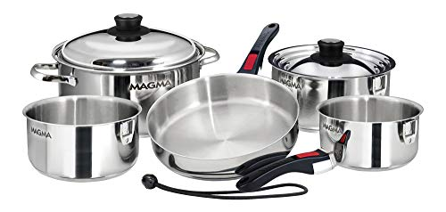 Magma Products, A10-360L-IND, 10 Piece Gourmet Nesting Stainless Steel Cookware Set, Induction Cooktops, Silver