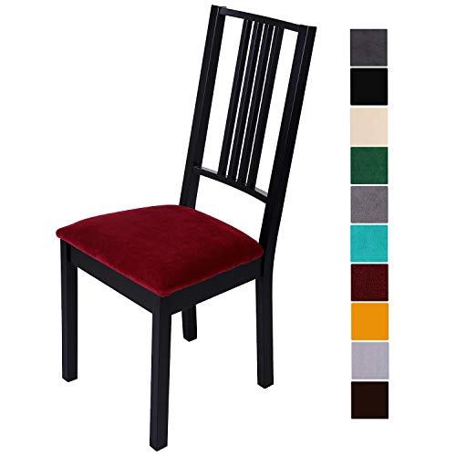 Homaxy Stuhlbezug Sitzfläche Samt Weich Sitzbezug Stuhl Stretch-sitzbezüge für Esszimmerstühle Abwaschbar Schonbezug Hussen für Stühle- 6er Set, Weinrot