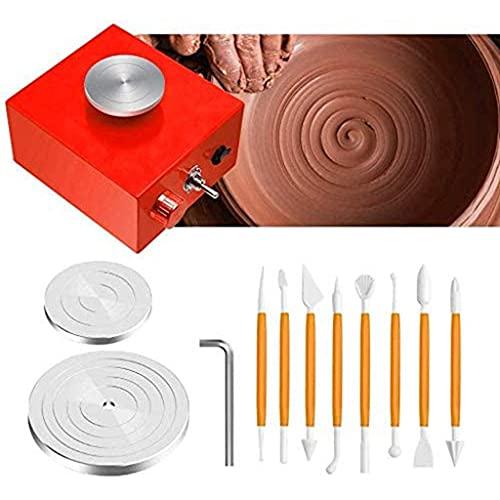 DFBGL Mini Torno de alfarero, Mini máquina de alfarero de Molde de cerámica para niños, Plato Giratorio eléctrico de 6,5 cm y 10 cm para Trabajos de cerámica, Artes y Manualidades de ARC