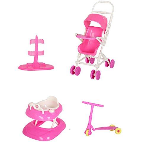 Newin Star Puppenzubehör Set, 4 Stück Puppen Spielzeug Accessories Hauspuppe Zubehör mit Kinderwagen Lauflernhilfe Stehstand Mini Roller für Puppen