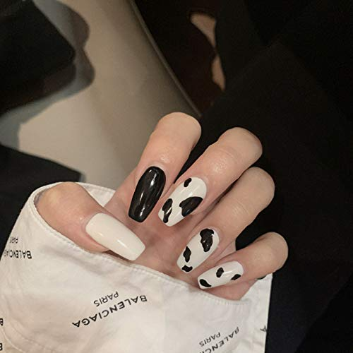 MIUSD 24Pcs Medium Coffin False Nails, Fashion Ballerina Fake Nails, Black White Cow Press on Nails, Glossy Acrylic Nails for Women and Girls