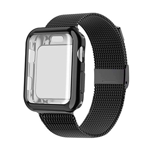 YC YANCH Compatible with Apple Watch Band 40mm with Case, Stainless Steel Mesh Loop Band with Apple Watch Screen Protector Compatible with iWatch Apple Watch Series 1/2/3/4/5 (40mm Black)