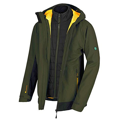 Regatta Herren Wentwood III 3 in 1 Waterproof and Breathable with Zip-Out Fleece Jacke, Dark Khaki/Black, XXL