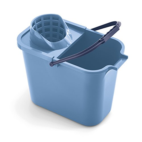Mery 0111.31 Cubo Rectangular de 12 litros con Escurridor, Polipropileno, Azul, 23 x 37 x 29 cm
