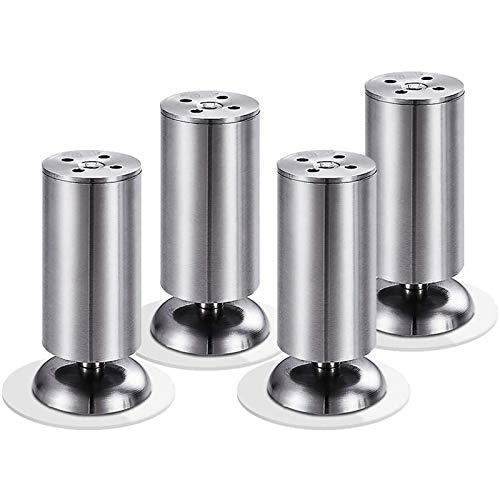 WANGPP 4 Piezas de Patas de Mesa, Patas de sofá, Patas de Muebles de café, Patas de Armario de Mesa de Metal Cromado Pulido, con Tornillos de Montaje