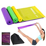Different Strength Exercise Resistance Bands Set of 3, 1.5m Stretch Bands for Home Gym, Physical Therapy, Sport, Pilates, Muscle Relaxation Exercise, Yoga, Outdoor Strength Training Workout