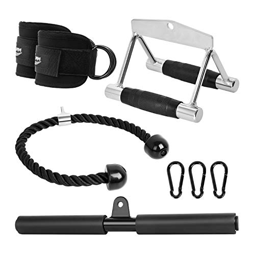 KMM Cable Machine Attachments Fitness Machine Accessories|4-Piece Set - Triceps Rope Pull Down Attachment + V-Shaped Handle + Straight Bar + Ankle Straps + Carabiner Clips for Home Gym Workout (Black)