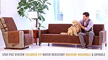 XL Sofa, up to 86 seat size, Chocolate Water Resistant Microsuede Slipcover Stay-Put Straps Link Shades Anti-Slip Xtra Large Sofa Protector Cover Protects Couches from Dogs /& Other Pets
