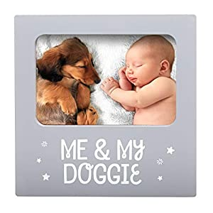 Tiny Ideas Me & My Doggie Picture Frame, Nursery Décor, Gender Neutral Baby Shower Gift, Gray