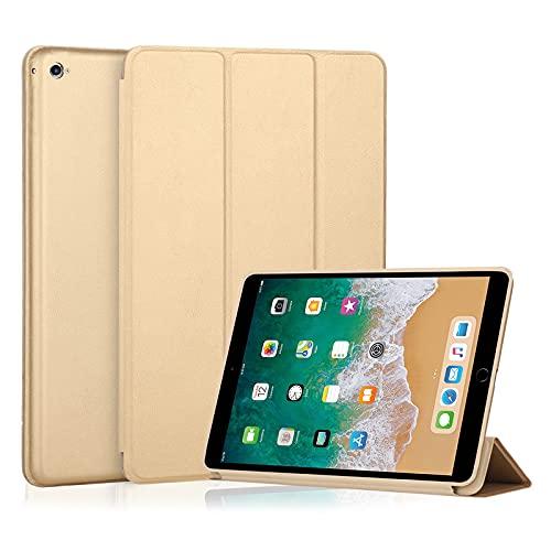 e kysa basics Tri-Fold Leather Cover for Apple iPad Air 2 9.7″ 2014 – A1567, A1566 – Gold