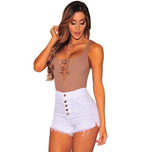 RISTHY Vaqueros Mujer Cortos Push Up Pantalón Corto Vaquero Desgastado Cintura Alta Shorts de Mezclilla Pantalones Caliente Verano con Botones