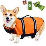 Dog Life Jackets, Dog Life Vests for Swimming with Dog Poop Bag Dispenser, Reflective & Adjustable Puppy Floatation Vest with Rescue Handle, Dog Swim Vest for Water Safety at The Pool, Beach, Boating