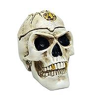 [クイーンビー] ガイコツ ふた付き 灰皿 大容量 リアル おしゃれ 卓上 頭蓋骨 髑髏 骸骨 ドクロ スカル 小物 入れ オブジェ インテリア 装飾 飾り プレゼント ギフト (ホワイト)