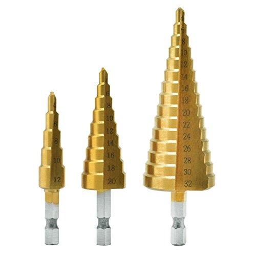 3 PCS Broca Escalonada 4-12 / 20 / 32mm HSS para Metal - Taladros Titanio Hexagonal Acero de Alta Velocidad