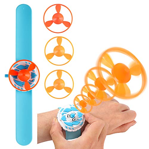 Latocos Slap Bracelets with Flying Saucers Slap Bands for Kids Flying Disc Toys Party Favors Birthday Classroom Gifts