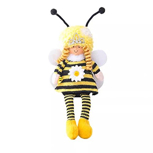 ZZYOU, muñeco de Peluche de Abeja, Tejido de Lana de Pierna Larga con Forma de Abeja, Adornos de muñeca, decoración de Festival de Abejas, Peluches, Regalo, Juguete para niños
