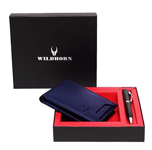WildHorn Men Blue Genuine Leather Wallet Gift Set Combo