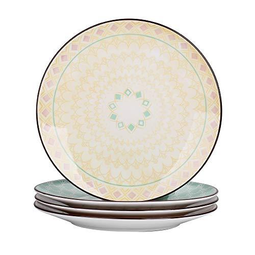 vancasso Tulip Juego de Platos 4 Piezas Platos Llanos Porcelana Redondo 27cm Plato de Cena Colores -Mandala