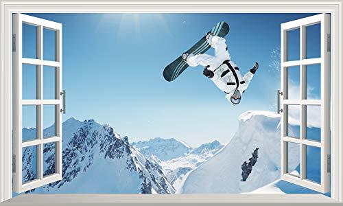 Chicbanners Extreme Snowboarden 3D V102 Magic Window Wall Sticker Selbstklebendes Poster Größe 1000 mm breit x 600 mm tief (groß)
