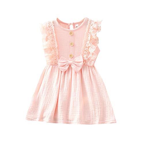 Vestido de Nia Princesa Slido con Lazo Lindo Encaje Botones Sin Mangas Ropa Beb Recin Nacido Nia Vestidos Nias (Rosa, 4-5 aos)