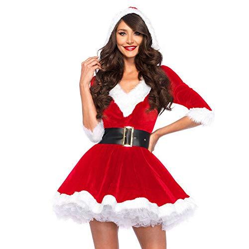 MINASAN Mamá Noel Deluxe Mujer Disfraz De Navidad Fiesta Conjunto Rojo Papá Noel Cosplay Fiesta Vestido para Mujeres (Rojo, M)