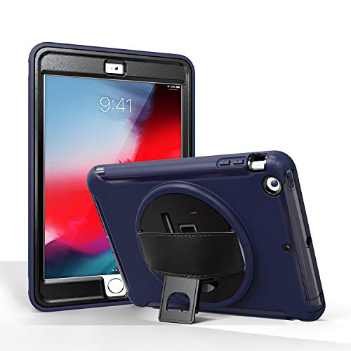 MadeRy Kids Case for iPad Mini 3 / Mini 2 / Mini 7.9 inch, Full-body Shockproof Stand Case Cover with Rotatable Hand Strap. (Dark Blue)