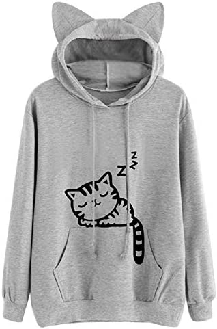Lziizl Women Girl Hoodies Cute Cat Ear Novelty Printed Pullover Sweatshirt